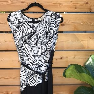 Ann Taylor Loft | dress with tie black + white